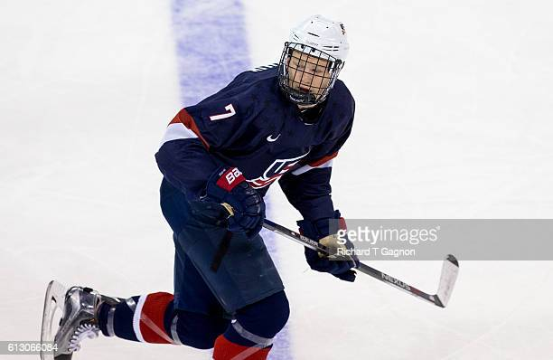 Brady Tkachuk of the US National Under18 Team skates against the Boston University Terriers during NCAA exhibition hockey at Agganis Arena on October...