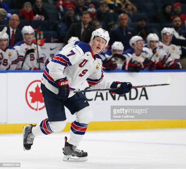 Brady Tkachuk of United States looks for a pass in the third period against Denmark during the IIHF World Junior Championship at KeyBank Center on...