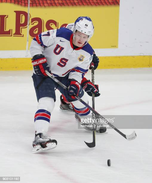 Brady Tkachuk of United States passes the puck against the Czech Republic during the second period of play in the IIHF World Junior Championships...