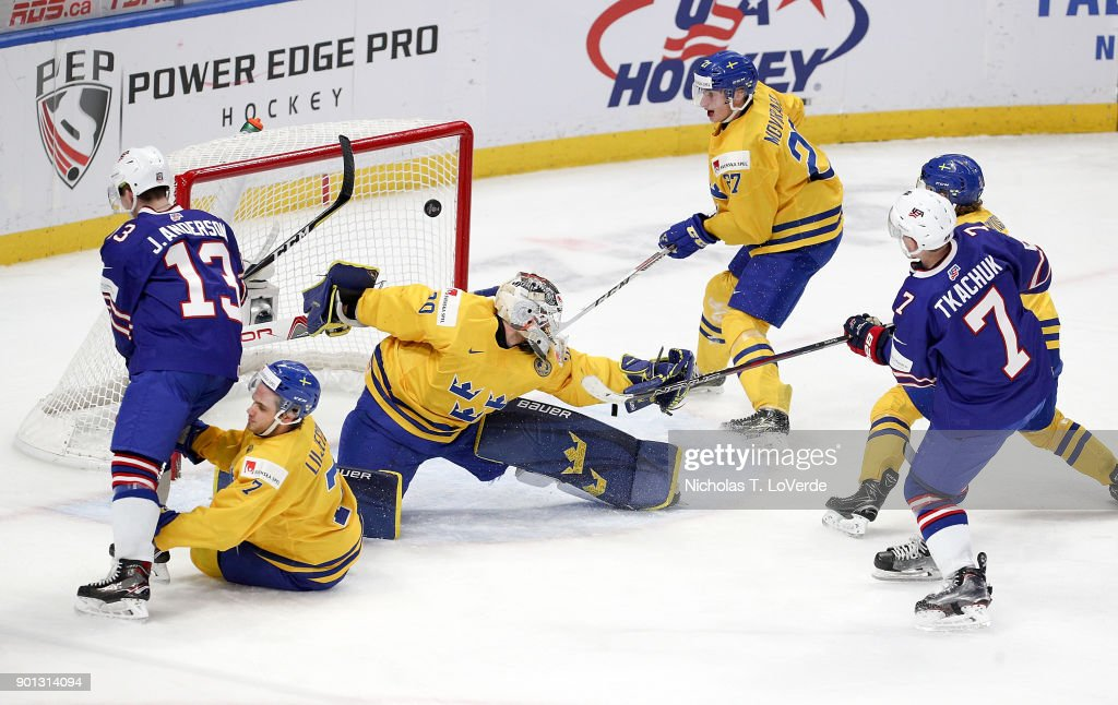 Brady Tkachuk #7 of United States scores a goal past Filip Gustavsson #30 of Sweden to cut the Sweden lead to 4-2 during the third period of play in the IIHF World Junior Championships Semifinal game at KeyBank Center on January 4, 2018 in Buffalo, New York.