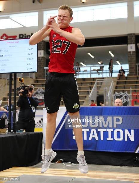 Brady Tkachuk performs at the jump station during the NHL Scouting Combine on June 2 2018 at HarborCenter in Buffalo New York