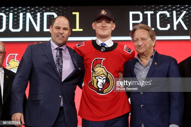 Brady Tkachuk poses after being selected fourth overall by the Ottawa Senators during the first round of the 2018 NHL Draft at American Airlines...