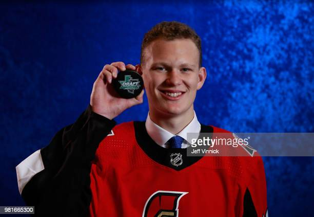 Brady Tkachuk poses for a portrait after being selected fourth overall by the Ottawa Senators during the first round of the 2018 NHL Draft at...