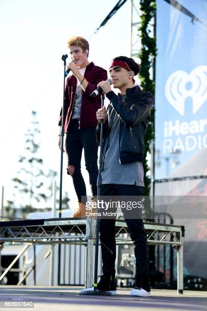 Brady Tutton and Drew Ramos of In Real Life perform on stage at 1027 KIIS FM's Jingle Ball Village at KIIS FM's Jingle Ball 2017 Presented by Capital...