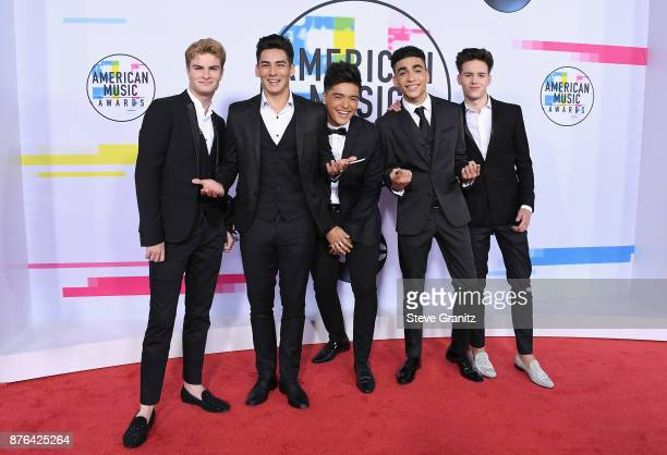 Brady Tutton Chance Perez Sergio Calderon Jr Drew Ramos and Michael Conor of the band In Real Life attend the 2017 American Music Awards at Microsoft...