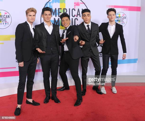 Brady Tutton Chance Perez Sergio Calderon Jr Drew Ramos and Michael Conor of the band In Real Life arrive at the 2017 American Music Awards at...