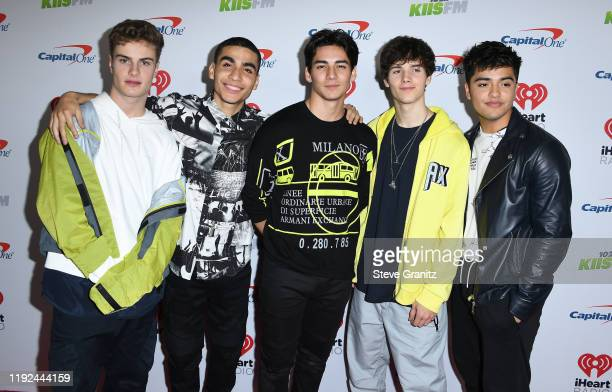 Brady Tutton, Drew Ramos, Chance Perez, Conor Michael Smith, and Sergio Calderon of In Real Life arrives at the KIIS FM's Jingle Ball 2019 Presented...