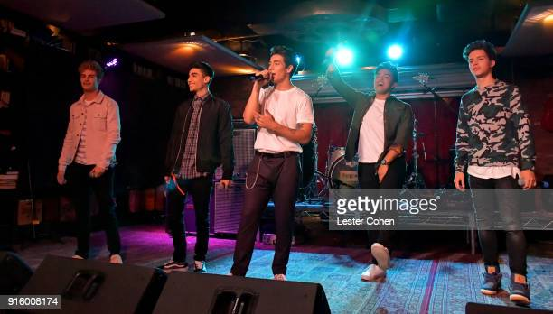 Brady Tutton Drew Ramos Chance Perez Sergio Calderon and Michael Conor of In Real Life perform on February 7 2018 in Los Angeles California