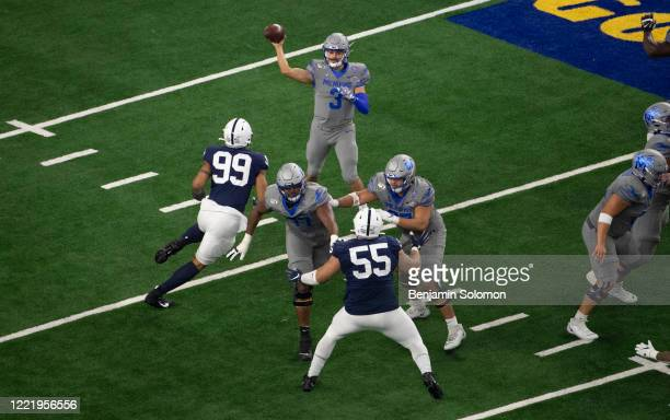 Brady White of the Memphis Tigers throws the ball during the Goodyear Cotton Bowl Classic at ATT Stadium on December 28 2019 in Arlington Texas
