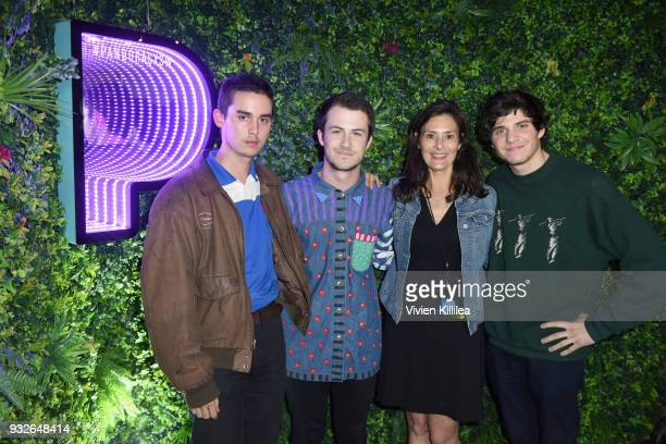 Braeden Lamasters Dylan Minnette and Cole Preston of Wallows and Chief Marketing Officer Aimee Lapic attend Pandora SXSW 2018 on March 15 2018 in...