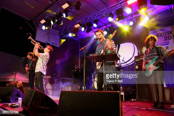 Braeden Lemasters and Dylan Minnette of Wallows perform onstage at Pandora during SXSW at Stubb's BarBQ on March 15 2018 in Austin Texas