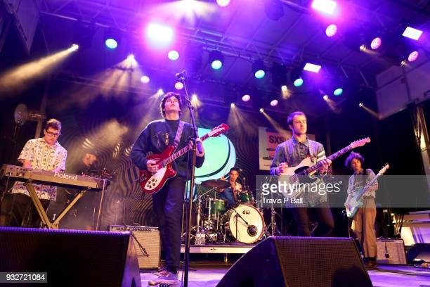 Braeden Lemasters Cole Preston and Dylan Minnette of Wallows perform onstage at Pandora during SXSW at Stubb's BarBQ on March 15 2018 in Austin Texas
