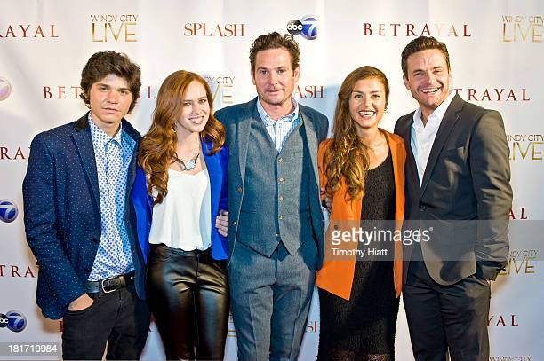 "Braeden Lemasters, Elizabeth McLaughlin, Henry Thomas, Hannah Ware, and Chris Johnson attend the premiere party for ABC's ""Betrayal"" at Vertigo Sky..."