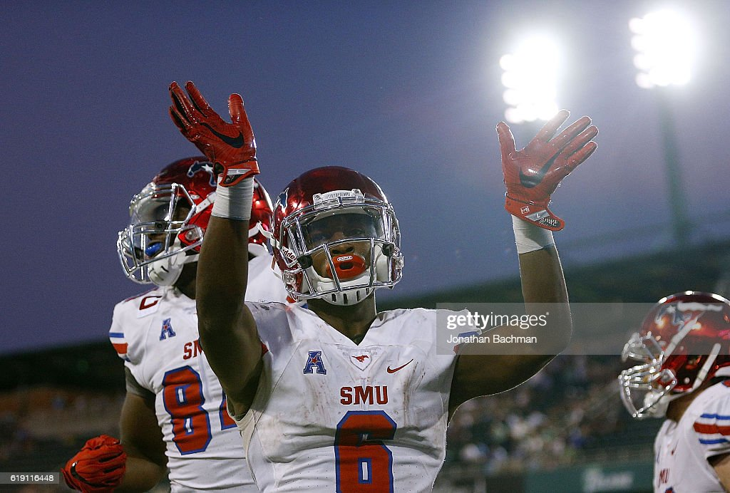 Braeden West #6 of the Southern Methodist Mustangs celebrates after scoring the go ahead touchdown during the second half of a game against the Tulane Green Wave at Yulman Stadium on October 29, 2016 in New Orleans, Louisiana.