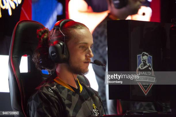 Braedon Boettcher competes for his team Splyce during the Halo World Championship finals in Seattle Washington US on Sunday April 15 2018 Esports...