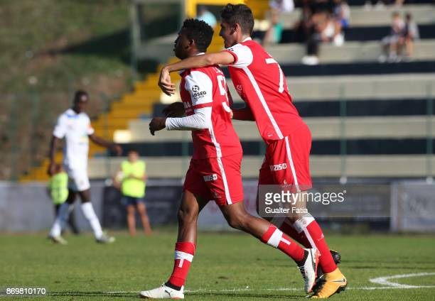 Braga B forward Luther Singh from South Africa celebrates after scoring a goal during the Segunda Liga match between Real SC and SC Braga B at...