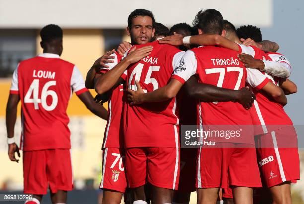 Braga B forward Ogana from Nigeria celebrates with teammates after scoring a goal during the Segunda Liga match between Real SC and SC Braga B at...
