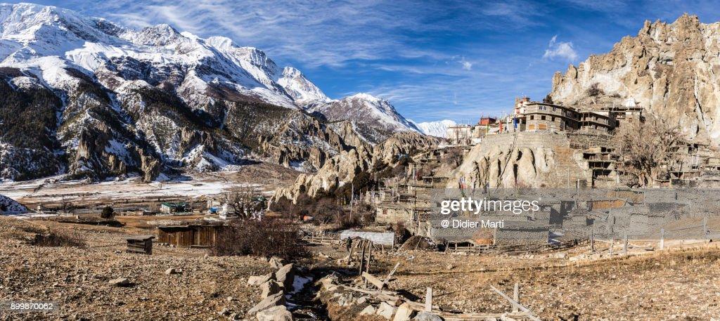 Braga Buddhist Monastery And The Annapurna Mountain Range ...