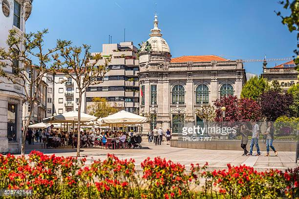 braga city centre square and outdoor restaurant - braga district stock photos and pictures