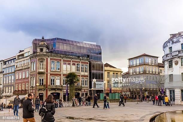 braga city centre square in portugal - braga district stock photos and pictures