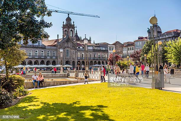 braga city square with tourists walking around - braga district stock photos and pictures