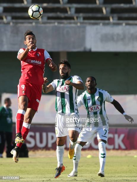 Braga forward Ahmed Hassan from Egypt with Vitoria Setubal midfielder Joao Costinha from Portugal in action during the Primeira Liga match between...