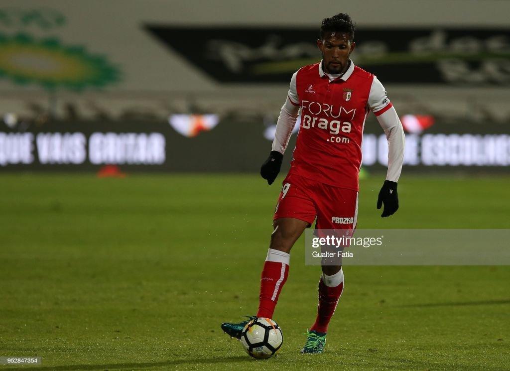 SC Braga forward Dyego Sousa from Brazil in action during the Primeira Liga match between CF Os Belenenses and SC Braga at Estadio do Restelo on April 29, 2018 in Lisbon, Portugal.