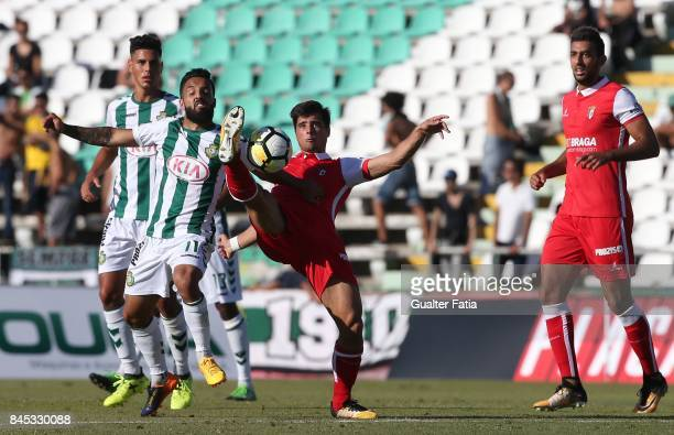 Braga forward Joao Carlos Teixeira from Portugal with Vitoria Setubal midfielder Joao Costinha from Portugal in action during the Primeira Liga match...