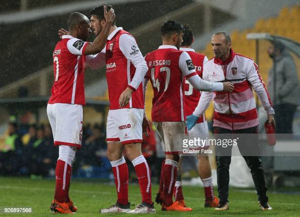 Braga forward Paulinho from Portugal celebrates with teammate SC Braga forward Wilson Eduardo from Portugal after scoring a goal during the Primeira...