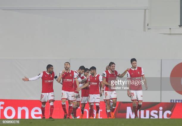Braga forward Ricardo Horta from Portugal celebrates with teammates after scoring a goal during the Primeira Liga match between GD Estoril Praia and...