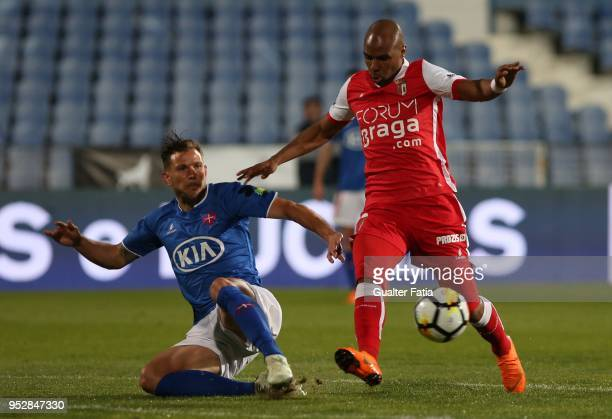 Braga forward Wilson Eduardo from Portugal with CF Os Belenenses midfielder Robert Persson from Sweden in action during the Primeira Liga match...