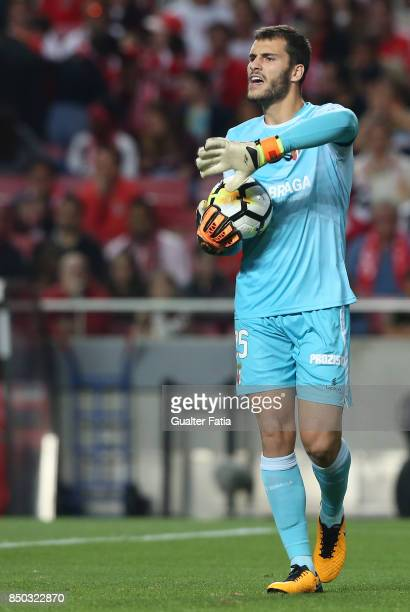 Braga goalkeeper Andre Moreira from Portugal in action during the Portuguese League Cup match between SL Benfica and SC Braga at Estadio da Luz on...