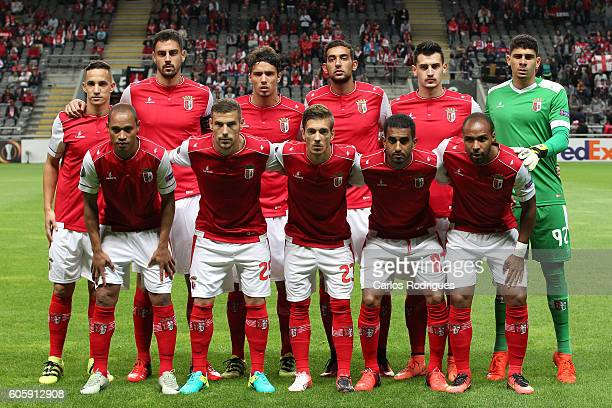 Braga initial team during the UEFA Europe League match between SC Braga v KAA Gent at Estadio Municipal de Braga on September 15 2016 in Lisbon...