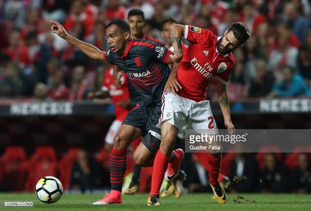 Braga midfielder Fransergio from Brazil with SL Benfica forward Rafa Silva from Portugal in action during the Portuguese League Cup match between SL...