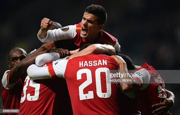 SC Braga players celebrate after scoring during the UEFA Europa League Group F football match Sporting Braga vs FC Slovan Liberec at the Estadio...