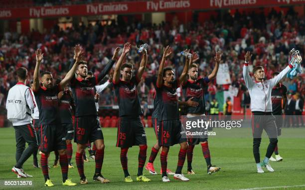 Braga players celebrate the draw with supporters at the end of the Portuguese League Cup match between SL Benfica and SC Braga at Estadio da Luz on...