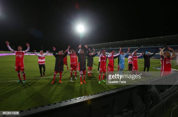 Braga players celebrate the victory at the end of the Primeira Liga match between CF Os Belenenses and SC Braga at Estadio do Restelo on April 29...