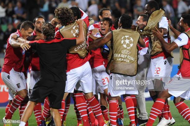 Braga players celebrate victory after the UEFA Champions League playoff match between Udinese Calcio and SC Braga at Friuli Stadium on August 28 2012...