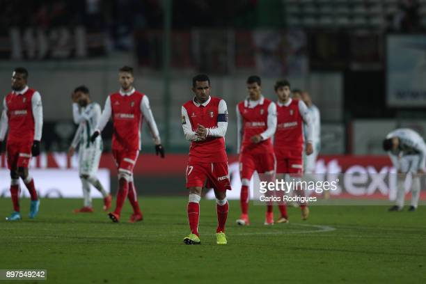 Braga Players celebrates Braga goal scored by Vitoria Setubal midfielder Joao Costinha from Portugal during the match between Vitoria de Setubal FC...