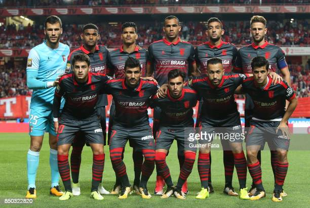 Braga players pose for a team photo before the start of the Portuguese League Cup match between SL Benfica and SC Braga at Estadio da Luz on...