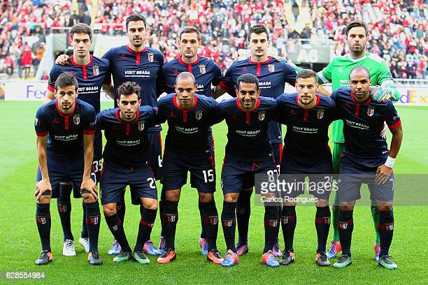Braga team line up during the UEFA Europe League match between SC Braga v FC Shakhtar Donetsk at Estadio Municipal de Braga on December 08 2016 in...