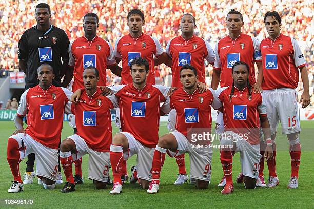 Braga Team line up prior to the UEFA Champions League Playoffs match between SC Braga and Sevilla FC at Estadio Municipal de Braga on August 18 2010...