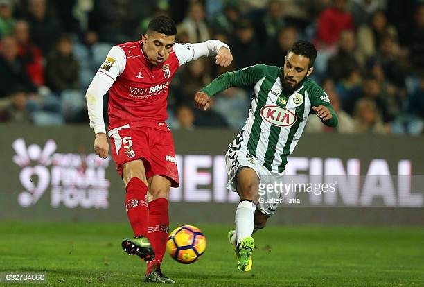 Braga's Argentinian midfielder Rodrigo Battaglia with Vitoria de Setubal's forward Joao Costinha in action during Portuguese League Cup Semi Final...