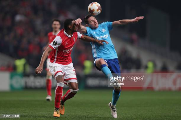 Braga's Brazilian defender Bruno Viana vies for the ball with Marseille's French midfielder Florian Thauvin during the UEFA Europa League match...