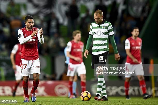 Braga's Brazilian defender Marcelo Goiano celebrates teammate Sporting Braga's forward Wilson Eduardo's goal during the Portuguese league football...