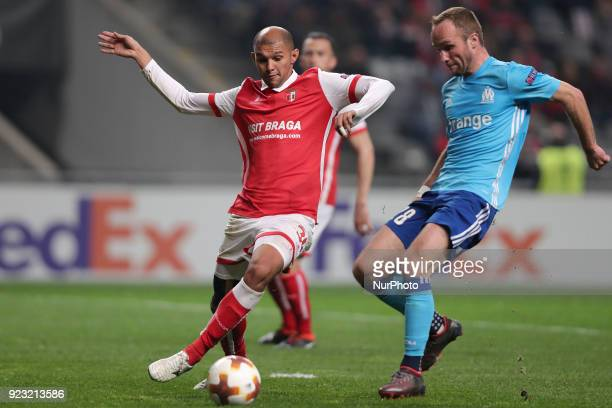 Braga's Brazilian defender Raul Silva vies for the ball Marseille's French forward Valere Germain during the UEFA Europa League match between SC...