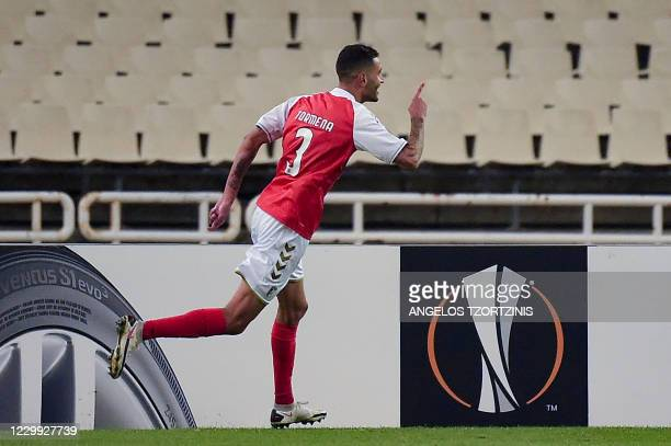 Braga's Brazilian defender Vitor Tormena celebrates after scoring a goal during the UEFA Europa League Group G football match between AEK Athens and...
