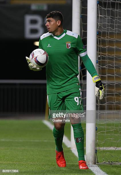 Braga's Brazilian goalkeeper Matheus Magalhaes in action during the UEFA Europa League match between SC Braga and KAA Gent at Estadio Municipal de...