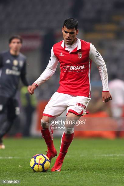 Braga's Brazilian midfielder Danilo Silva in action during the Premier League 2017/18 match between SC Braga and SL Benfica at Municipal de Braga...