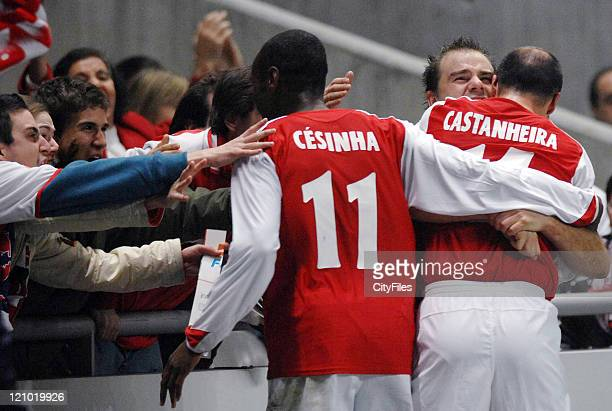Braga's Cesinha Castanheira and Paulo Jorge celebrate with fans during the UEFA Cup Group C match between SC Braga and the Grasshoppers at the...